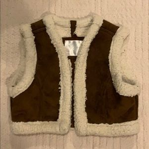 Girls Justice vest. Brown and cream. Size 10